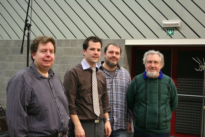 Jean-Pierre HAECK, Yves SEGERS, Louis MARTINUS and Derek BOURGEOIS during the CD recording with the Belgian Guides (La féria)
